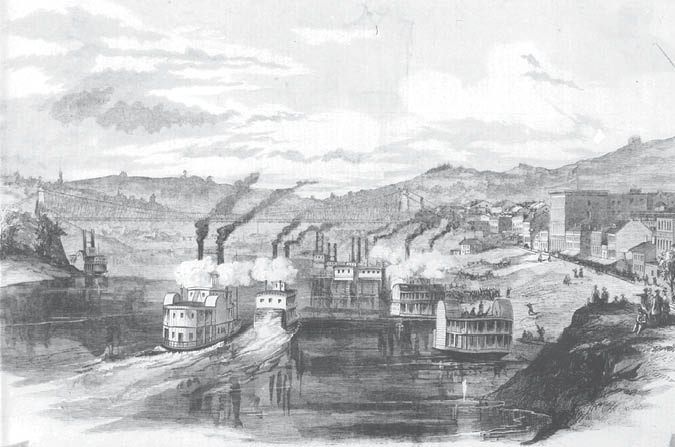 Wheeling Virginia Showing The Suspension Bridge And Embarkation Of German Rifles Captain Plankey 1861 Sketch By J A Faris From Oglebay